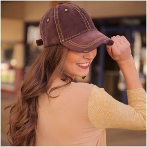 Corduroy distressed baseball cap/brown